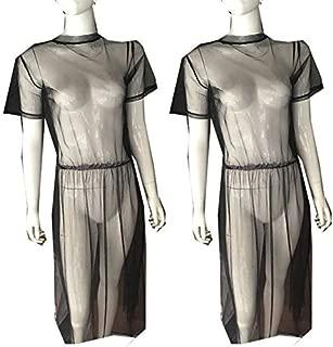 BEESCLOVER Beach Cover UpWomen Black Mesh Midi Dress Sheer Dress Lace Long Dress