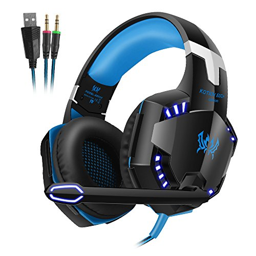 Andoer Each G2000 Over-Ear Game Gaming Headphone Headset Earphone Headband with Mic Stereo Bass LED Light for PC Game Blue