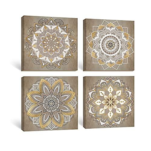 SUMGAR Cuadro de Pared Flores Indias Mandala Pintura en Lienzo Boho Imagen Floral Decoración de elaboración para Dormitorio Comedor Sala de Estar 30x30cm 4 Piezas