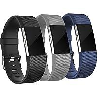 """Correa de repuesto AdePoy para Fitbit Charge 2, accesorio ajustable para pulsera de actividad física FitBit Charge 2, talla pequeña y grande, #A gray+glack+navy, Large(6.7""""-8.1""""wrist)"""