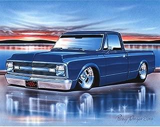 1969 70 Chevy C10 Fleetside Pickup Classic Truck Art Print Blue 11x14 Poster