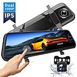 VanTop H609 Dual 1080P Mirror Dash Cam with 10' IPS Full Touch Screen w/Waterproof Backup Rear View Camera, Night Vision, Parking Monitor, Loop Recording (128G Memory Card Supported)…