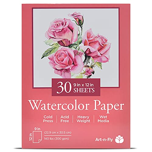 Watercolor Paper Pad - 30 Sheets White Paper (140lb/300gsm) for Painting, Wet Drawing - Cold Press 9x12 in - Art Supplies