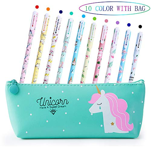 Unicorn Pens for Girls School Gift Birthday Present, VSTON Cute Unicorn Pens Set Ballpoint Writing Smooth Black Ink Pencil Case for Kids Girls Age 3 4 5 6 7 8 9 10 Years Old, 10 Pcs
