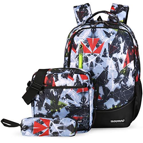 SOOHAO Schulrucksack Teenager Schulranzen Jungen Schultaschen Set 3tlg Jugendliche Schule Daypacks Kinder Schultasche Wasserdicht Rucksuck fur 15 Zoll Laptop(Rot)