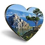 Posavasos con forma de corazón de MDF, para viajes de Lago Baikal, Rusia, con calidad brillante, protección de mesa para cualquier tipo de mesa #2226
