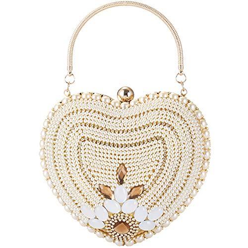LIXILI Bolso de Embrague de Noche de Perla en Forma de corazón, Bolso de Flores con Cuentas de Diamante Mujeres para Mujer Pequeño Bolso para la Fiesta de Bodas,Oro