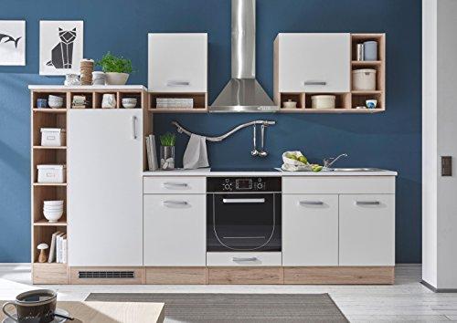 moebel-guenstig24.de Küche Madeira Küchenblock Küchenzeile Komplettküche 290cm Singleküche Miniküche Kleinküche weiß Eiche
