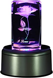 LIWUYOU Colorful Rose 3D Crystal Music Box I Love You Romantic, Bluetooth Base