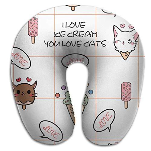 Amo el Helado, amas a los Gatos, Almohada en Forma de U, Almohada de Espuma viscoelástica extraíble, Protector de Cuello, Protector de Cuello para Coche, Almohada portátil con Cremallera, Blanco