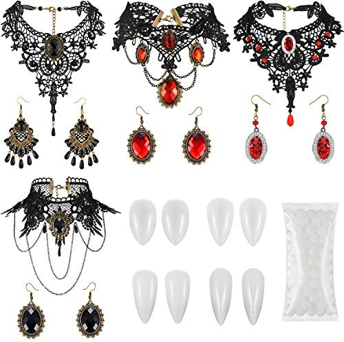 4 Halloween Vampire Costume Choker Earrings Set with 4 Vampire Teeth Fangs Gothic Lolita Red product image