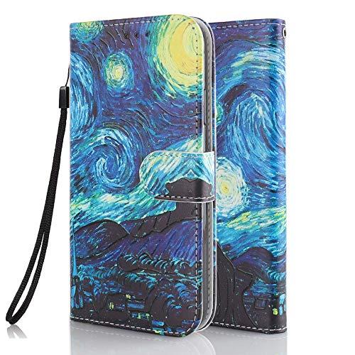 Funda Libro para Xiaomi Redmi Note 9 Carcasa de Cuero PU Premium Flip Wallet Case Cover con Tapa Teléfono Piel Tarjetero - Cielo Estrellado
