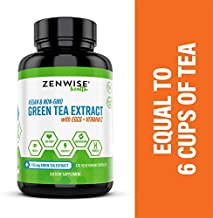 Green Tea Extract with EGCG & Vitamin C - Antioxidant & Immune Supplement - Metabolism Booster for Vegan Weight Support - for Skin & Heart Health + Brain & Memory Boost - 120 Count