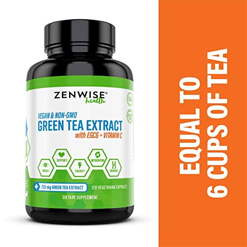 Vegan Green Tea Extract with EGCG & Vitamin C - Antioxidant & Immune Supplement - Metabolism & Thermogenesis Booster for Weight Support - for Skin & Heart Health + Brain & Memory Boost - 120 Count