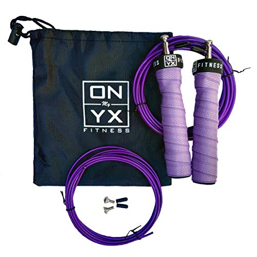 My ONYX Professional Speed Jump Rope | 2 Level Adjustable Cables | Ergonomic Shape Anti Slip & Ball Bearings Handles | Carry Bag | Designed for Crossfit Double Unders and MMA Workouts (Purple)