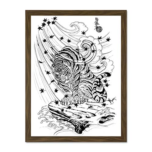 Doppelganger33 LTD Painting Drawing Illustration Japanese Demon Tiger Japan Large Framed Art Print Poster Wall Decor 18x24 inch Supplied Ready to Hang