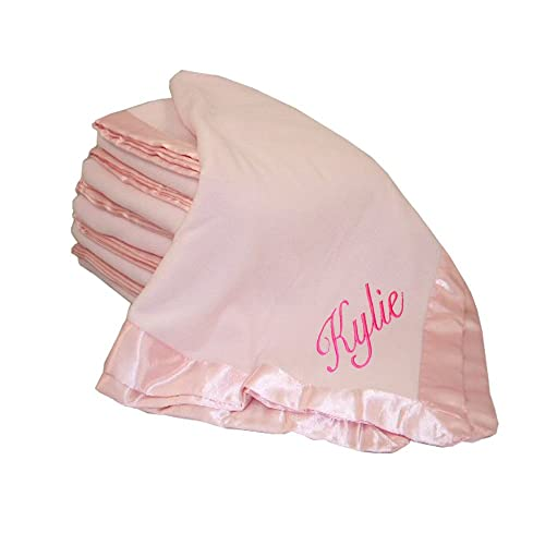 Custom Embroidered Monogrammed Name Pink Fleece Personalized Baby Blanket a0d69d51a186