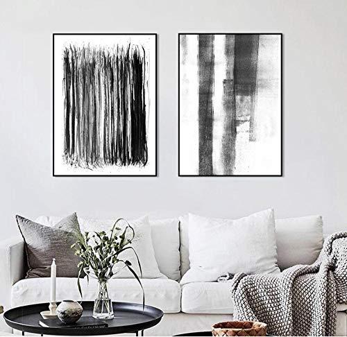 Decoración moderna del hogar Arte de la pared Pinturas en lienzo Minimalista Cepillo gris Color Pintura abstracta Sin marco Cartel nórdico-50X70X2Pcs Sin marco