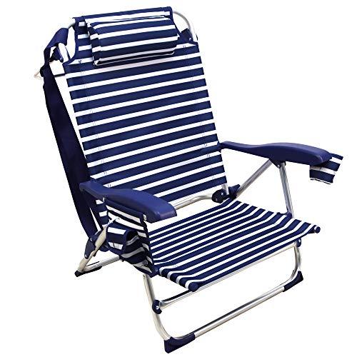 Silla Playera, 5 Posiciones, Silla Plegable para Playa, Jadín, Camping, Rayas Azul Oscuro y Blanco
