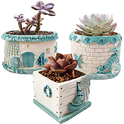 Small Resin Succulent Pots with Drainage Hole,Set of 3 Ocean Theme Mediterranean Style Planters Pots for Cactus Air Plant,Plant not Included