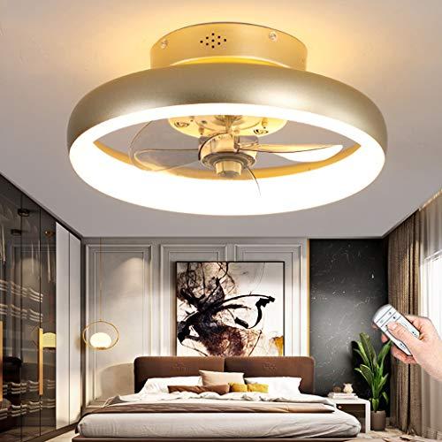 Ventiladores De Techo Modernos Con Iluminación LED Regulable Con Control Remoto Silencioso Ventilador Luz De Techo Dormitorio Sala De Estar Sala De Niños Comedor Oficina Lámpara De Techo (40CM)