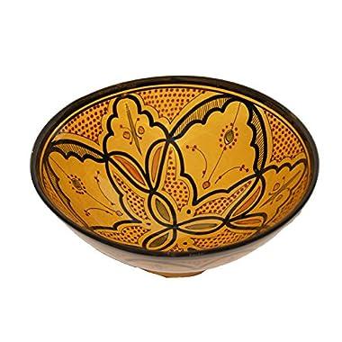 Ceramic Bowls Moroccan Handmade Serving Bowl Yellow Safi (Small 8 inches)