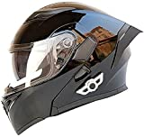 YAUUYA Casco De Motocicleta Bluetooth Casco De Motocicleta Bluetooth Integrado HD Negro Marrón Lente Auriculares Incorporados Y Micrófono Casco De Carreras De Cara Completa,B-L=(59~60CM)