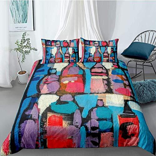 Lvvsovs 3-Piece Bedding Street culture watercolor painting pattern Duvet Cover Set Brushed Cotton Quilt Cover Set Bedding Set 1 Comforter-Cover & 2 Pillowcases king 220 x 230 cm