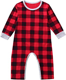 Zmond - Infant Baby Boys Girls Christmas Santa Xmas Letter Plaid Romper Jumpsuit Outfits Baby Clothes Winter Clothes Costu...