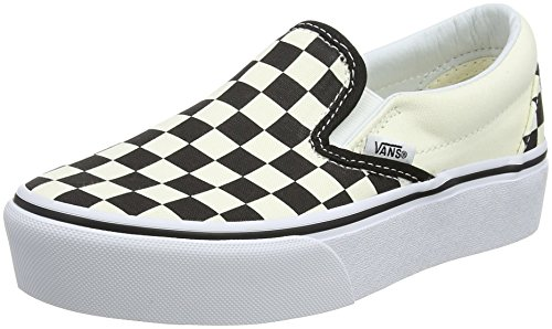 Vans Damen Classic Slip-on Platform Slip On Sneaker, Schwarz (Black and White Checker/White Bww), 38.5 EU