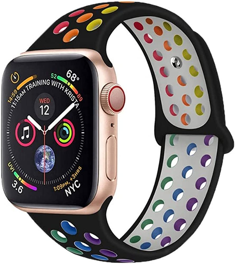 Double Color Rainbow Air Hole Replacement Band Compatible With iWatch Series SE 6/5/4/3/2/1- Buckle Free Sports Strap, Pride Wristband for Smart Watch - Premium Soft Silicon, 38/40mm, 42/44mm
