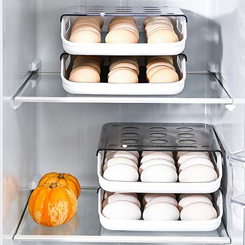 QINGCHU Bandeja para huevos para el frigorífico – Gran soporte de plástico – Soporte para huevos de plástico – Bandeja para huevos apilable con tapa para 21 huevos