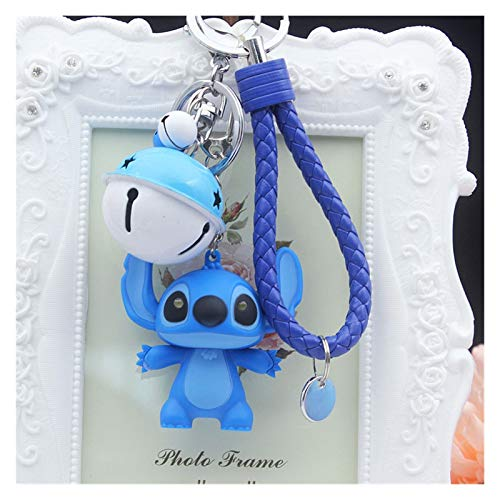 Qsdxlsd Keychain Cute Cartoon Doll Toys Light Voice LED Stitch Keychain Toy Creative Animal Bells Key Rings Bag Car Pendants Ornament Accessories decoration (Color : Blue A)