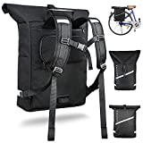 Noxcer 2in1 Fahrradtasche für Gepäckträger & Rolltop Rucksack   25L Volumen Wasserabweisend...