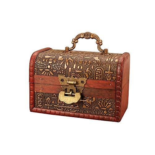MUY Caja de Almacenamiento de joyería de Madera de Estilo Egipcio Vintage con Cerradura, Organizador de Regalo de artesanía de Madera pequeña, Embalaje de Decoraciones de Escritorio para Mujeres