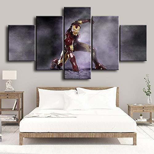 SILUYU-Leinwanddrucke,Wandkunst Für Wohnzimmer Basketball Moderne Wohnkultur Leinwand Faust der Macht Artwork Gemälde 5 Panel Poster Und Drucke,Mit Rahmen,Größe S:100 * 50Cm