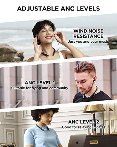 1More Auriculares inalámbricos con cancelación de Ruido Activa, Doble Controlador ANC Pro Bluetooth inalámbricos, IPX5 Impermeable, 4 micrófonos, Negro, Talla única