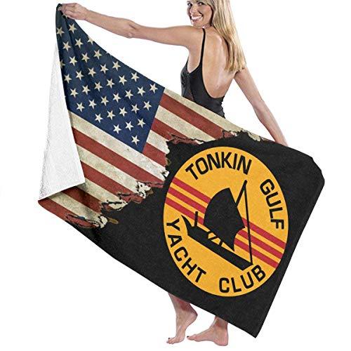 qinzuisp Toallas De Baño Tonkin Gulf Yacht Club Parche con Bandera De EE. UU. Microfibra De Viaje Gimnasio Impreso Al Aire Libre Acogedor Navidad Camping Toalla De Playa Piscina Absorbente