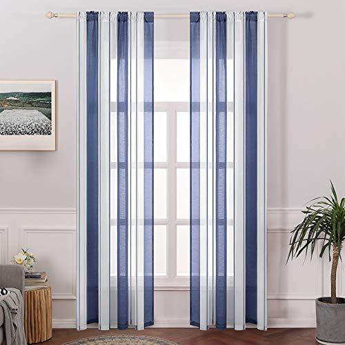 MIULEE Tende Trasparenti con Passanti Tenda Finestra Voile per Soggiorno e Camera da Letto 2 Pannelli 140 X 245cm Bianco Blu Marino