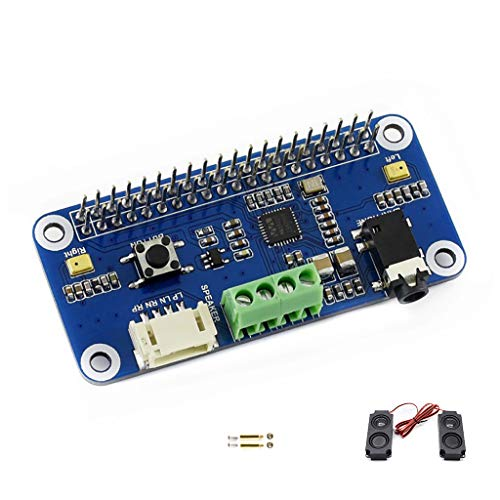 Waveshare WM8960 Hi-Fi Sound Card HAT for Raspberry Pi Audio Module Support Stereo CODEC Play/Record can Directly Drive Speakers to Play Music I2C I2S Interface 5V Power Supply