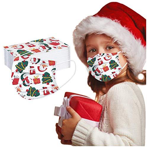 ZHX 50 Stück 3-lagig Erwachsenenmäske mit Weihnachten Motiv Mund und Nasenschutz,Einweg-Gesichtsabdeckung Staubdich Outdoor Mundschutz Halstuch für Kinder (D)
