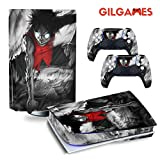 GilGames Skin Cover Decals for Playstation 5, Vinyl Protector Wrap Protective Full Set Faceplate Stickers Kit Console and Controller (Disk Edition)