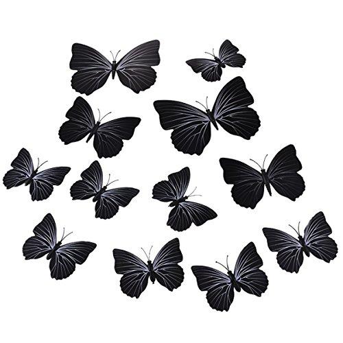 ECYC® 12Pcs / Set 3D Multi Color Butterfly Wall Stickers Bricolage pour La DéCoration De La Maison, Noir
