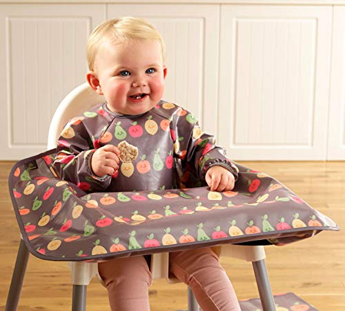 Weaning Bib – Bibetta Wipeezee Long Sleeved Wipe Clean Coverall Bib for Baby and Highchair Baby Led Weaning Unisex for Babies and Toddlers 6 Months +