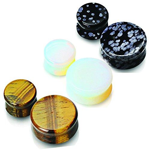 3 pares de 4 G (total 6) 5 mm albinismo opalita y ojo Semi piedras preciosas tapones para los oídos calibradores