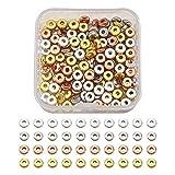 Cheriswelry 320 cuentas espaciadoras redondas planas de 6 mm, 4 colores, latón Rondelle, ...
