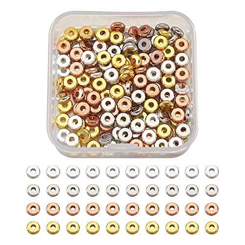 Cheriswelry Lot de 320 perles d'espacement plates rondes, perles en laiton, 6 mm, 4 couleurs, perles de charme en forme de rondelle, idéales pour la fabrication de bijoux et de bracelets