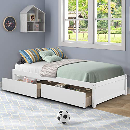 AOOSWEER Twin Platform Bed Frame with 2 Storage Drawers, Wood Twin Bed Frames for Kids Toddler Girls Boys, 10 Slats Support, No Box Spring Needed, Easy Assembly ( Twin, Bright White)