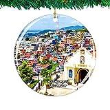 Weekino Ecuador Guayaquil Navidad Ornamento Ciudad Viajar Recuerdo Colección Doble Cara Porcelana 2.85 Pulgadas Decoración de árbol Colgante