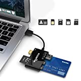 6 in 1 Smart Card Reader, Rocketek USB SD Card Reader for Smart Card/Micro SD/SDXC/SD/SDHC/MS/M2/MMC Camera Memory Card Reader Adapter Military CAC Reader USB Card Reader/Writer for Mac OS,Windows